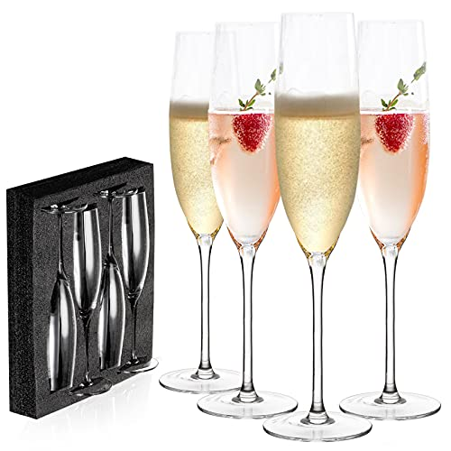 JBHO Gift-Box Champagne Glasses - Hand Blown Champagne Flutes - Set of 4...