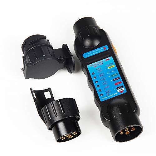 EXLECO Anhänger Prüfgerät Anhängerbeleuchtung Testen Gerät 7-13 polige Wohnwagen Testgerät 12V Für Stecker Und SteckdoseTrailer Tester für Verbinder Zu Abschleppen und Wohnwagen