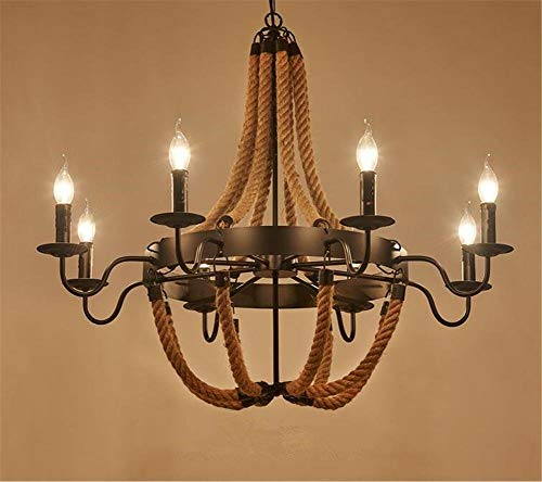 SGWH ® binnenverlichting kroonluchter armaturen smeedijzeren hanger kroonluchter verlichting plafondlamp lamp henneptouw hanglamp 220V H 69 cm X B 90 cm