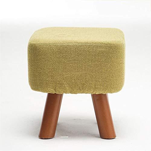 Mini reposapiés de madera maciza simple otomana con patas de madera y puffes de asiento de tela suave para sala de estar D1127 (color: azul)