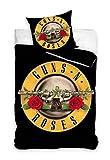Carbotex - GNR8001-PP – Juego de cama reversible Guns N' Roses 100% algodón 2 piezas funda nórdica y funda de almohada – Negro – 140 x 200 cm / 70 x 90 cm