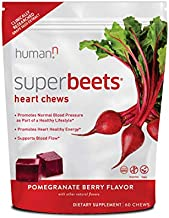 HumanN SuperBeets Heart Chews   Grape Seed Extract and Non-GMO Beet Powder Helps Support Healthy Circulation, Blood Pressure, and Energy, Super Beets Pomegranate-Berry Flavor, 60-Count