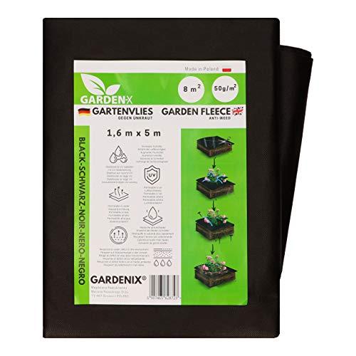 GARDENIX® 8 m² Anti Unkrautvlies 50g/m² ‒ Gartenvlies Hohe UV-Stabilisierung reißfest und wasserdurchlässig Schwarz (1,6m x 5m)