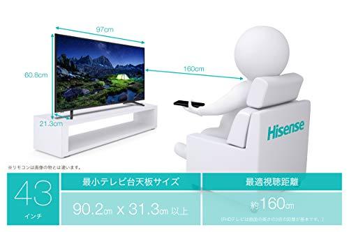 『ハイセンス Hisense 43V型 液晶 テレビ 43A50 フルハイビジョン 外付けHDD裏番組録画対応 メーカー3年保証 2018年モデル』の6枚目の画像