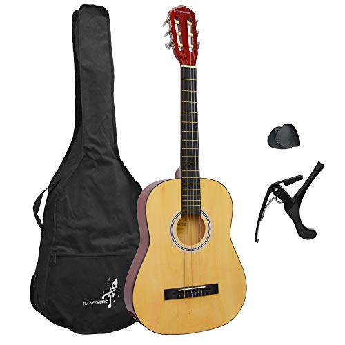 Rocket 3/4 Size Natural Classical Guitar Pack for Beginners with Nylon...