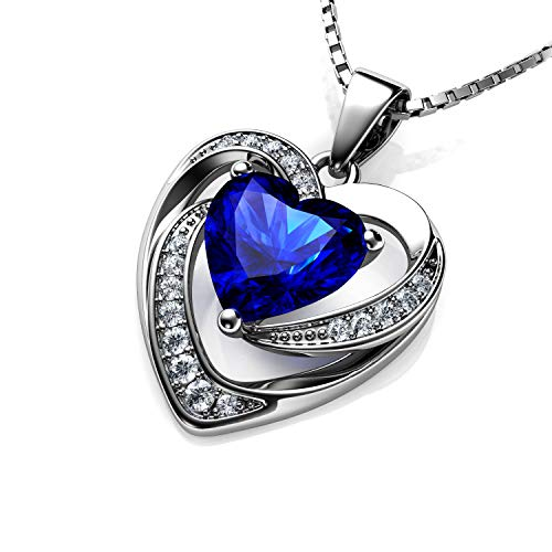 DEPHINI - Blue Heart Necklace - 925 Silver Heart Pendant with White CZ & Blue Birthstone Embellished with Branded Crystal for Women, 18' Sterling Silver Chain + Jewellery Box, Gifts for Women