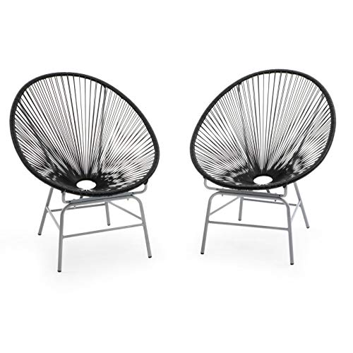 Set of 2 Black Acapulco Chairs Outdoor Patio Lounge Chairs Mid Century Modern