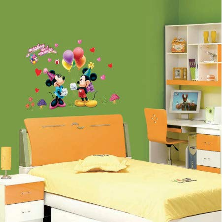 TTBH Removable Mickey Mouse and Minnie Sticker 602. Kids Baby Nursery Room Decor Mural Decoration