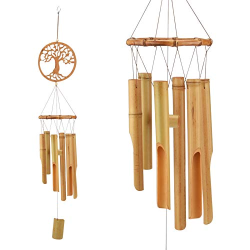 JOELELI Windspiel Holz, Wind Glocke hölzerne Musik hängende Ornament Dekoration für Outdoor, Indoor, Haus, Garten, Terrasse, Veranda, Hof, Ackerland oder Balkon(Baum des Lebens)