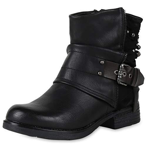 SCARPE VITA Gefütterte Damen Biker Boots Glitzer Stiefeletten Nieten Schuhe 150158 Schwarz Black 36