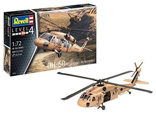 Revell RV04976 UH-60 Transport Helicopter, Hubschraubermodellbausatz 1:72, 21,2cm originalgetreuer Modellbausatz für Fortgeschrittene, Unlackiert