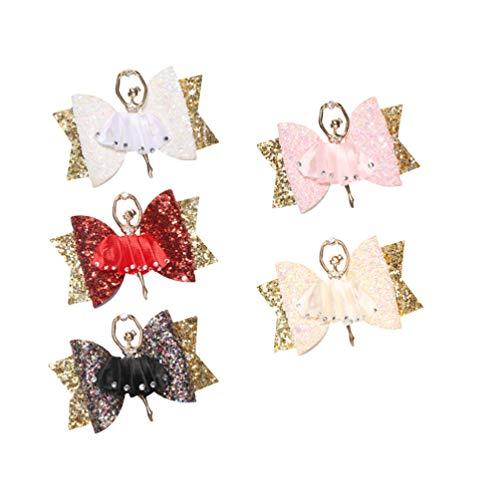 Lurrose 5 stuks glitter haarboog clips alligator haarspelden bowknot haarspelden voor meisjes boutique geschenk
