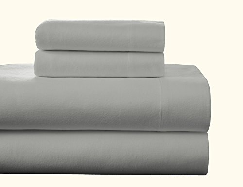 Pointehaven Flannel Deep Pocket Set with Oversized Flat Sheet, California King, Heather Grey