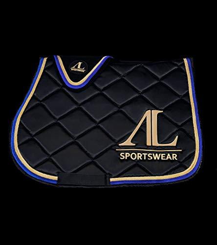 Alexandra Ledermann Sportswear Ensemble Tapis et Bonnet Cheval Noir 4 cordelettes Bleues et Blanches