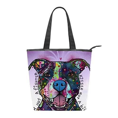 Women Canvas Handbag Watercolor Pitbull Dog Purse Shoulder Bag Messenger Bag Mom Bag for Women