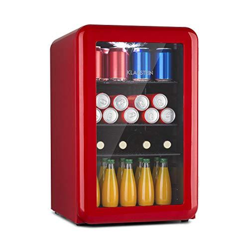 Klarstein PopLife - Nevera, Temperatura de 0 a 10 °C, EEC A+, Regulador giratorio mecánico, Ruido 39 dB, Luz LED, Puerta de doble cristal, 44 x 69 x 48 cm, Capacidad de 70 Litros, Rojo