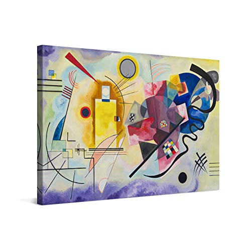 PICANOVA – Wassily Kandinsky – Yellow Red Blue 60x40cm – Cuadro sobre Lienzo – Impresión En Lienzo Montado sobre Marco De Madera (2cm) – Disponible En Varios Tamaños – Colección Arte Clásico