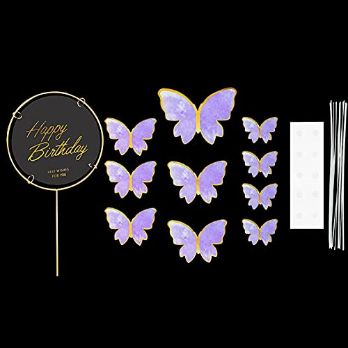 JinEamy-uk 1Set Butterfly Paper Cake Topper Happy Birthday Cupcake Toppers For Baby Shower Wedding Party Girl Birthday Cake Decoration ( Color : A06 1set )
