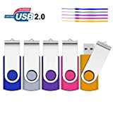 SRVR - Unità flash USB, 5 pezzi, USB2.0, unità per pollice girevoli per archiviazione dati, unità Jump, unità Zip, schede di memoria, dispositivi esterni con indicatore LED 5 colori 64GB