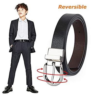 Kid Boy's Reversible Belt, JASGOOD kids Leather Casual Dress Belt for Jeans Pants with Alloy Buckle (Black/Coffee,Pant Size 23-27 Inch)