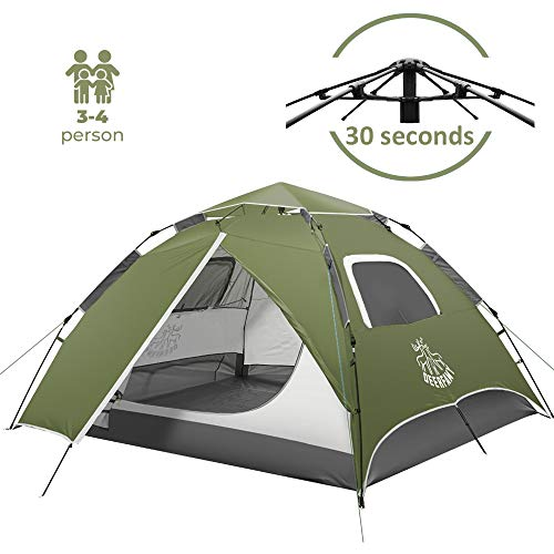 DEERFAMY 4 Person Pop Up Tent, Waterproof Camping Tent for Family, Easy Instant Tent for Outdoor Backyard, Green/Blue (Green)