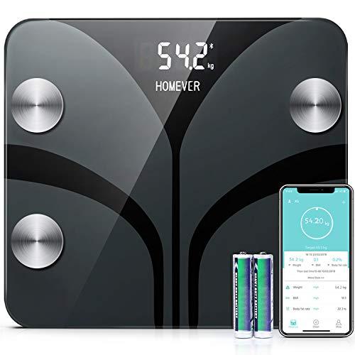 Homever Körperfettwaage, Waage mit körperfett, Digital Personenwaagen für Körperfett, 13 Daten, BMI, Gewicht, Muskelmasse, Wasser, Protein, BMR (Batterie Einschließen)