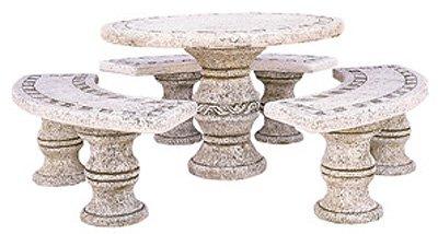 Conjunto Comedor de Piedra para Jardin Circular Venecia