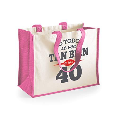 Design, Invent, Print! Bolsa de Lona de algodón de 40 cumpleaños - para Mujer - como Regalo, Recuerdo o para Hacer la Compra - Rosa - 33 x 42 x 19cm (Rosa)