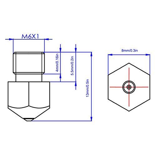 Boquilla de rubí de acero de titanio Boquilla MK8 Óxido de
