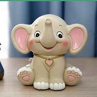 YOIL de Decoración Hucha Cajas de Ahorro Regalo Baby Elephant Piggy Bank Individuality Animal Saving Bank Regalo Infantil Creativo (Biege Red)