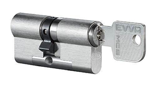 EVVA MCS Doppelzylinder mit 3 Schlüssel + Sicherungskarte, Hochsicherheits-Zylinderschloss mit Magnet-Code System, Schließanlage, Türschloss, Länge A:36 mm I:31 mm
