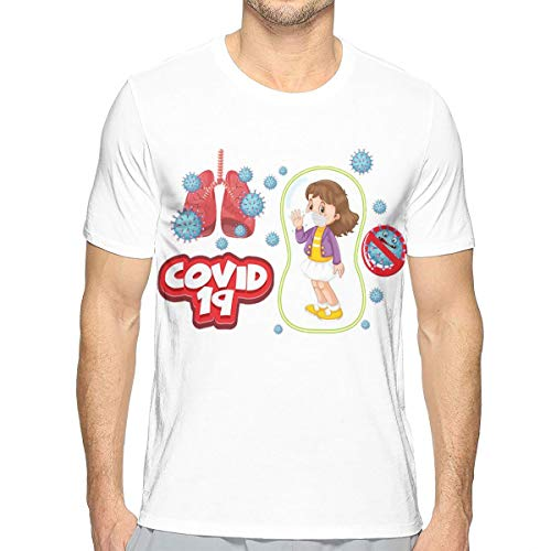 Download Coronavi-Rus Poster Design with Girl Wearing Ma-Sk for Free 3D Print Fashion T-Shirts for Men White
