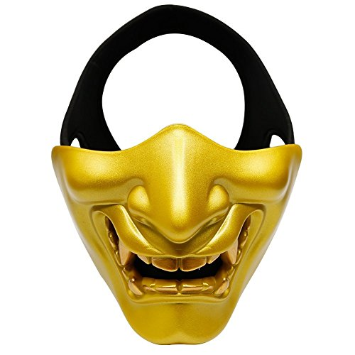 ZTBF Máscara de media cara dorada táctica protectora para Halloween, cosplay, fiesta y película, Airsoft, Paintball, pistola BB CS, juego de caza, tiro