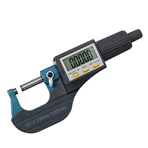 Beslands Digital Electronic Display Micrometer 0-1' / 0-25mm Gauge 0.00004' / 0.001mm Thickness Measuring Tools Inch/Metric Caliper, Protective Case (with Extra Battery)