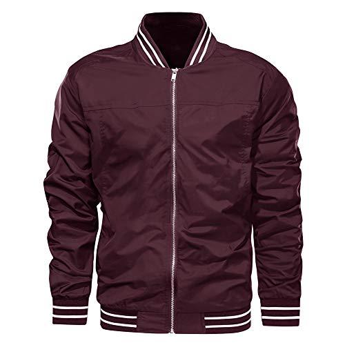 EKLENTSON Jacket for Men Summer Outdoor Thin Lightweight Varsity Bomber Jacket Wine Red
