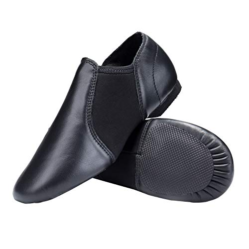 STELLE Leather Jazz Slip-On Dance Shoes for Adult Women Men (Black, 8.5MW)