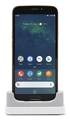 """Doro 8080 Smartphone 4G per Senior con Display da 5.7"""", Fotocamera da 16 MP, WhatsApp, Localizzazione GPS e Base di Ricarica (Nero/Rame)"""