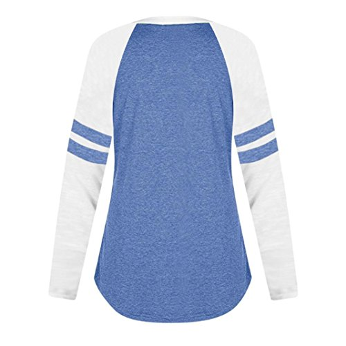 WuyiMC Women's Long/Short Sleeve O-Neck Patchwork Casual Loose T-Shirts Blouse Tops (L, Blue @)