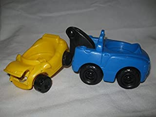 Fisher Price Little People Tow Truck AND Car With ood That Rises Garage Car Wash Mechanic House Family Village Play Set Replacement BLUE Truck Yellow Car
