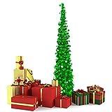 Rorchio Árbol de Navidad emergente de 150 cm, árbol de Navidad artificial plegable, árbol de Navidad costero de oropel verde para decoraciones navideñas, exhibición del hogar
