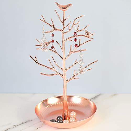 Soporte de exhibición de joyas de árbol, soporte para collares, colgador de pulseras, accesorios para colgar, organizador de joyas para pendientes, collares, anillos incluidos, M & W (oro rosa)