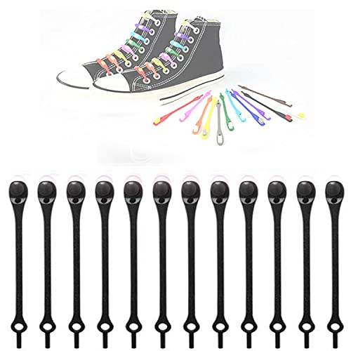 YJHY 12PCS Lazy Elastic Shoelaces, Tie-Free Laces, Silicone Round Shoe Laces (Black)