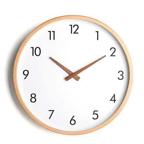 YALI YL Uhren einfache Massivholz Wanduhr runden Glasspiegel PVC Zifferblatt Wohnzimmer zu Hause Quarzuhr 1 Abschnitt 5. Batterie Wohnzimmer Küche Schlafzimmer Büro Precision