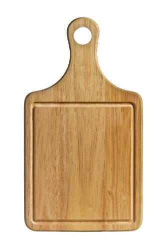 Premier Housewares Schneidebrett, Kautschukholz, mit Handgriff & Saftrille, 36 x 20 x 1,5 cm