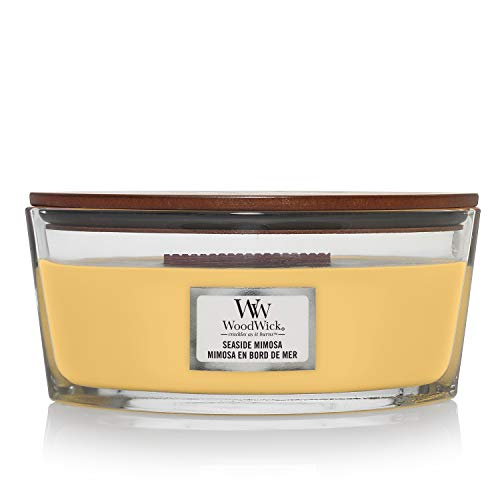 Woodwick Ellipse Candela Profumata con Stoppino Scoppiettante, Mimosa sul Mare, Fino A 50 Ore, Cera, Giallo, 19x12 cm