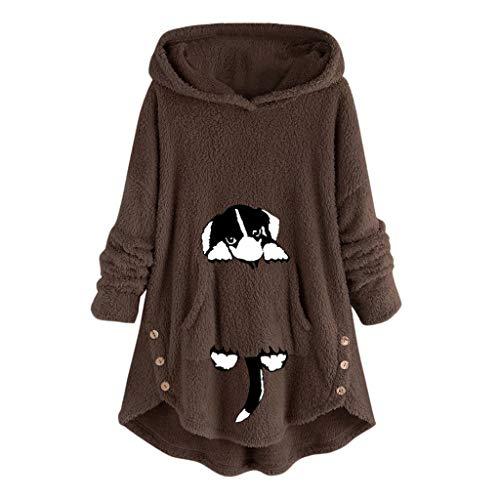 HULKY Sweat Femme Automne Hiver Mignon À Capuche Manches Longues Cat Casual Sweat-Shirt T-Shirts Sweats Femmes Pulls Grande Taille Sweatshirts Imprimé Fausse Fourrure Sherpa Fuzzy Fleece Sweat-Shirt