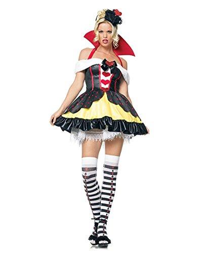 Leg Ave Women's Queen of Hearts Costume, Red/Black/Yellow, Medium