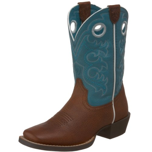 ARIAT unisex child Crossfire Western Boot, Brown Oiled Rowdy/Turquoise, 1 Little Kid US