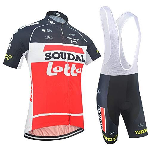 EIDKWTR Conjunto de trajes de ciclismo de manga corta de verano para hombre, Jersey de ciclismo con mallas de montar acolchadas con gel 5D, pantalones cortos / pantalones cortos con tirantes