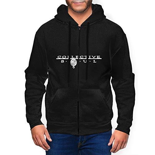 Dahl Collective Soul Logo Mens Hooded Zipper Shirt Long Sleeve Hooded Sweat Shirt Pullover Black